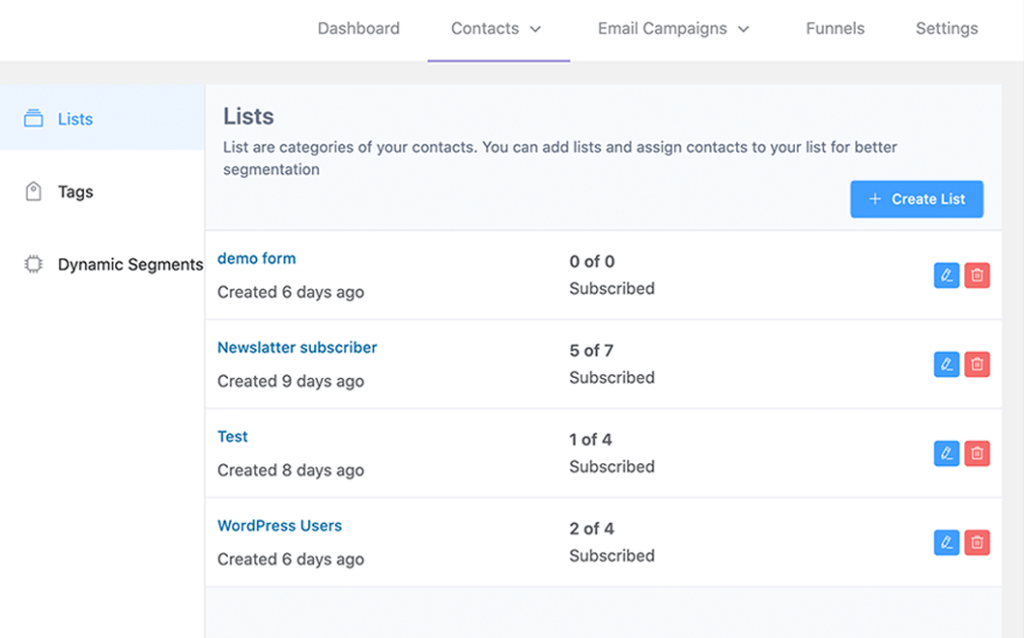list and tag leads, email list management, FluentCRM