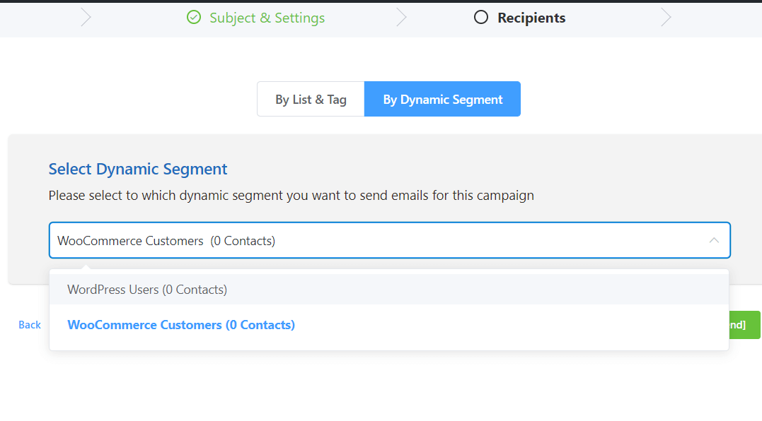 Add recipients By dynamic segments