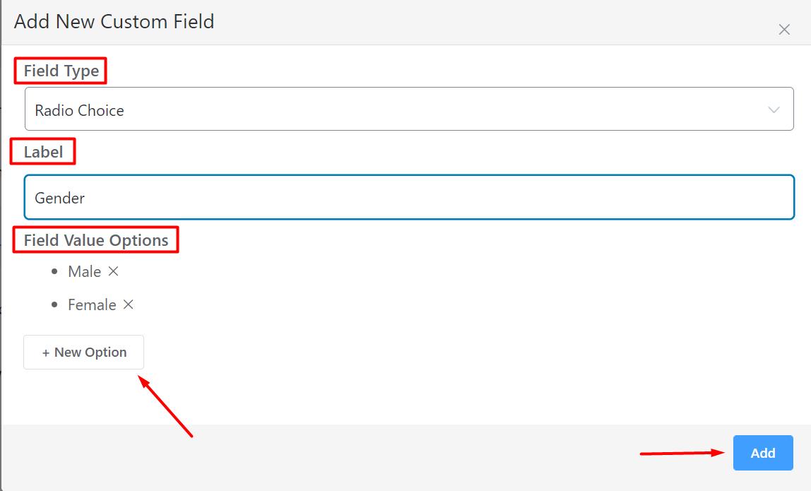 Add New Custom Field FluentCRM