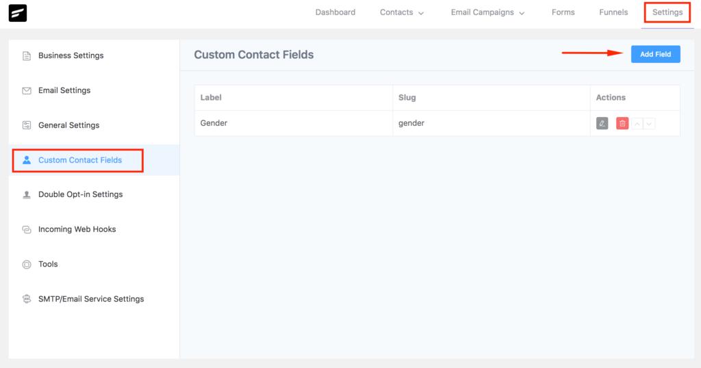 FluentCRM Custom Contact Fields