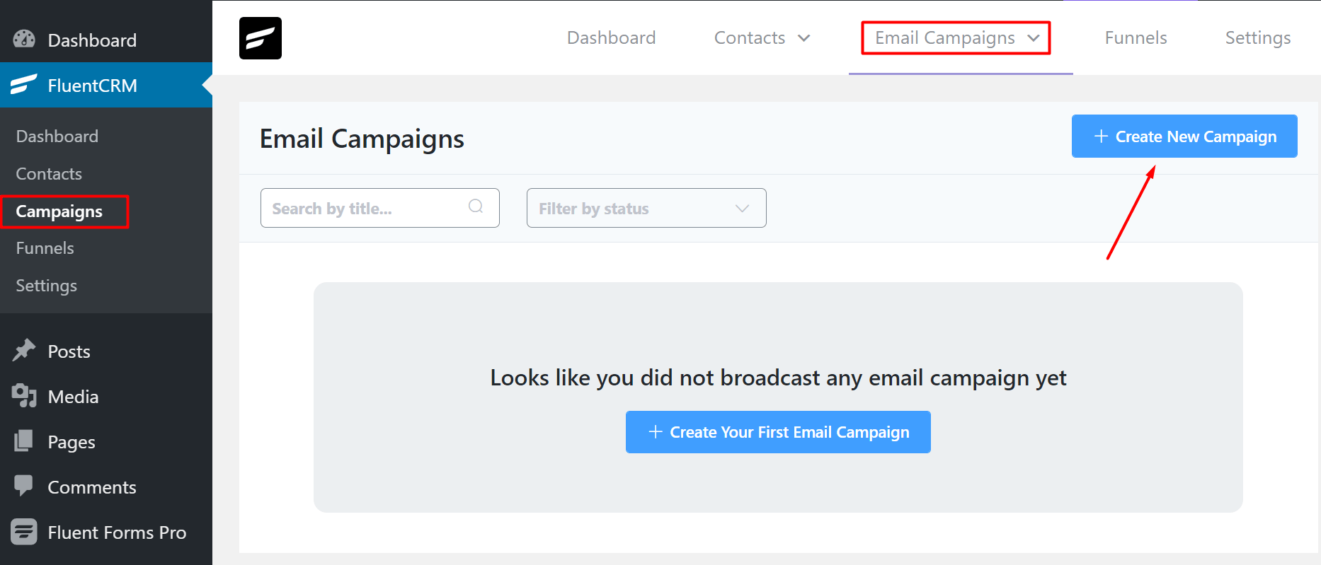 FluentCRM Create Your First Email Campaign