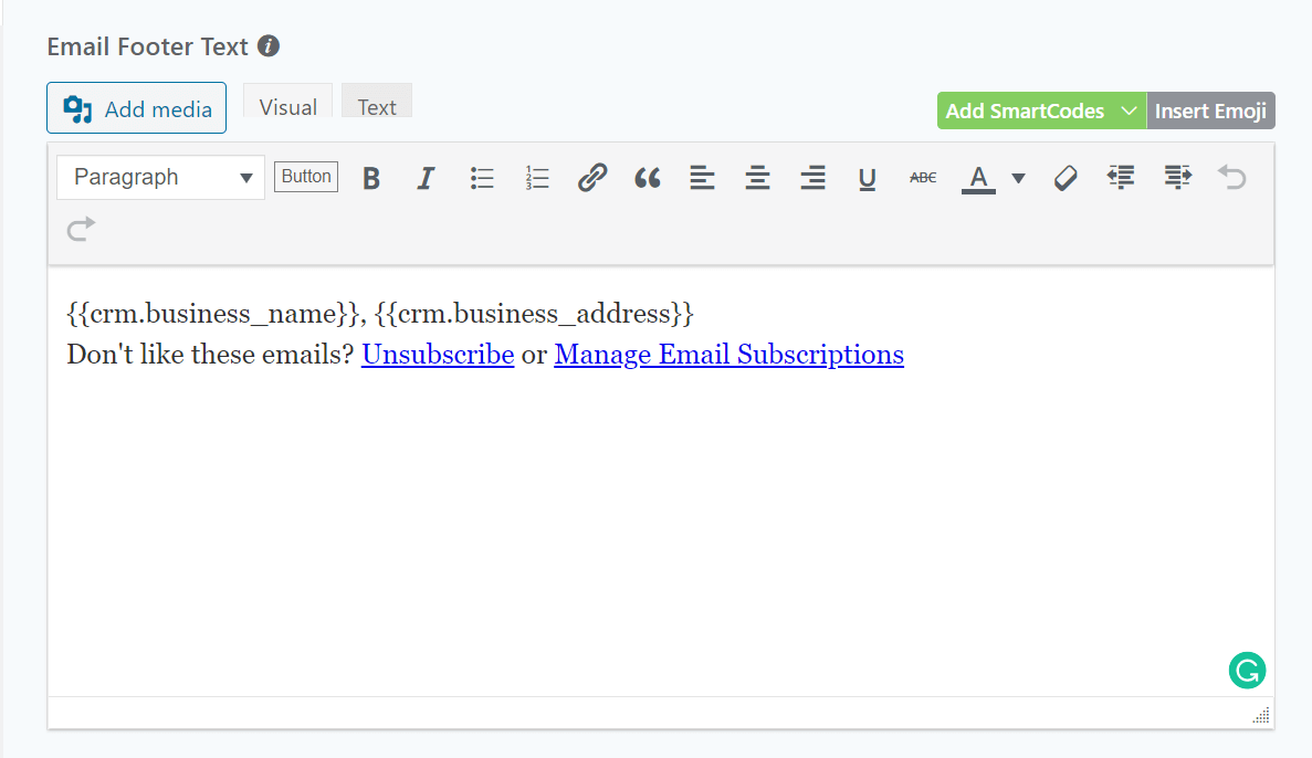 FluentCRM Email Footer Text