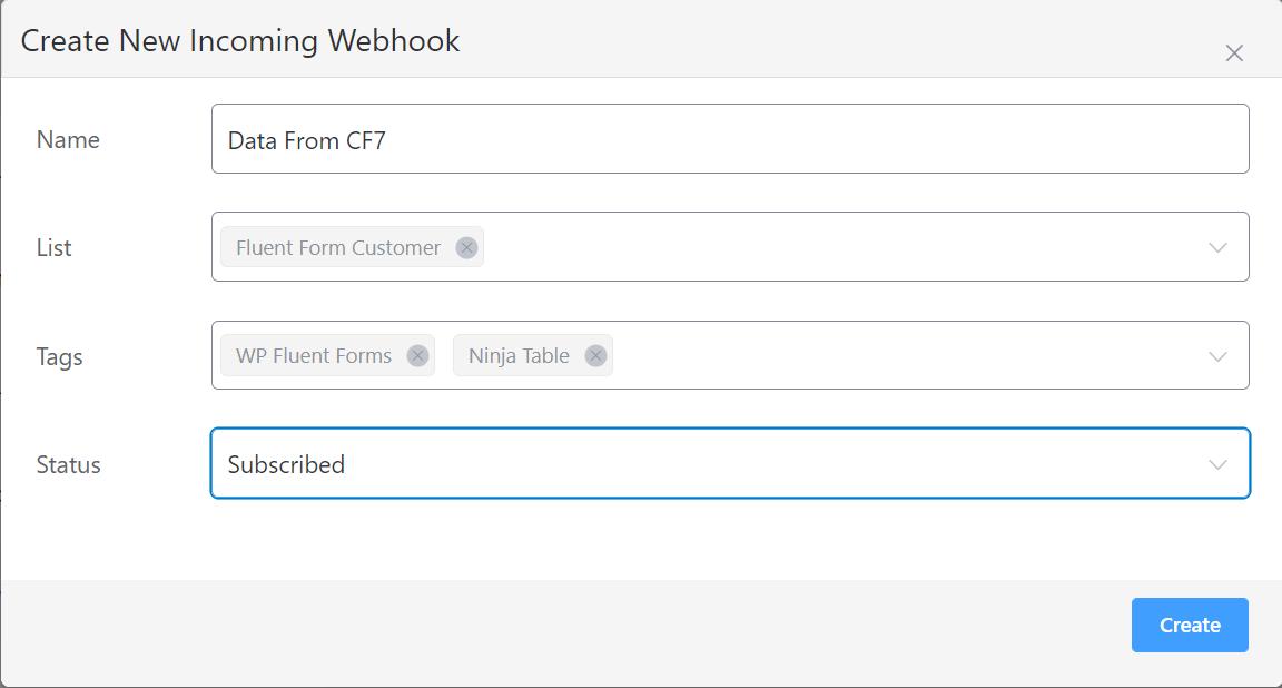 FluentCRM Webhook Settings