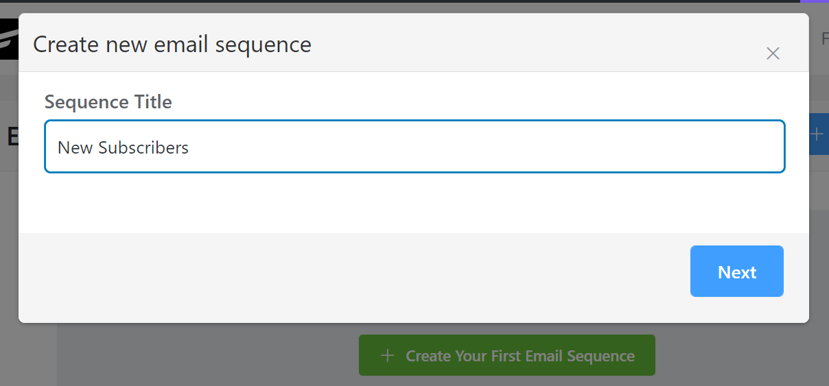 FluentCRM name the new email sequence