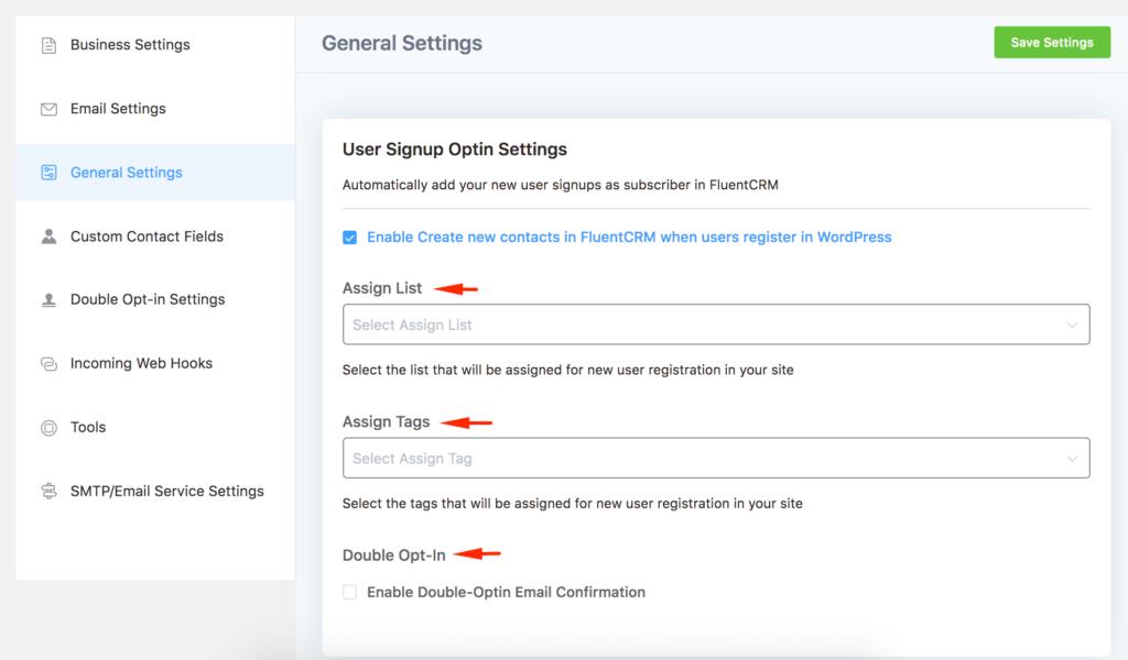 General Settings - User Signup