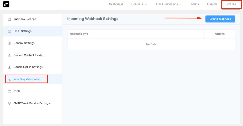 FluentCRM Incoming Webhook Settings