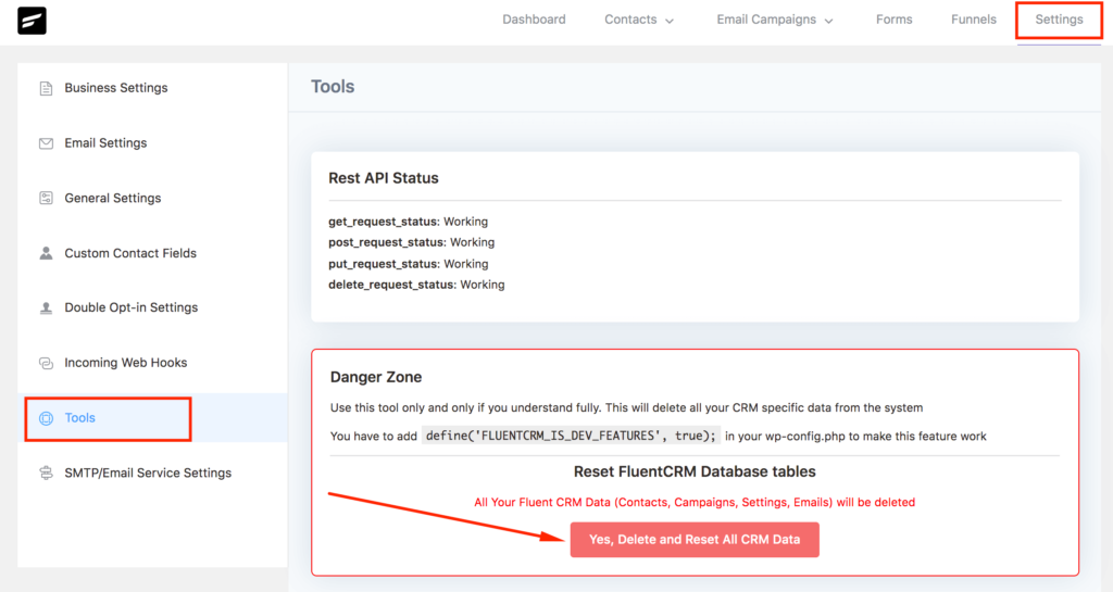 FluentCRM reset data with tools