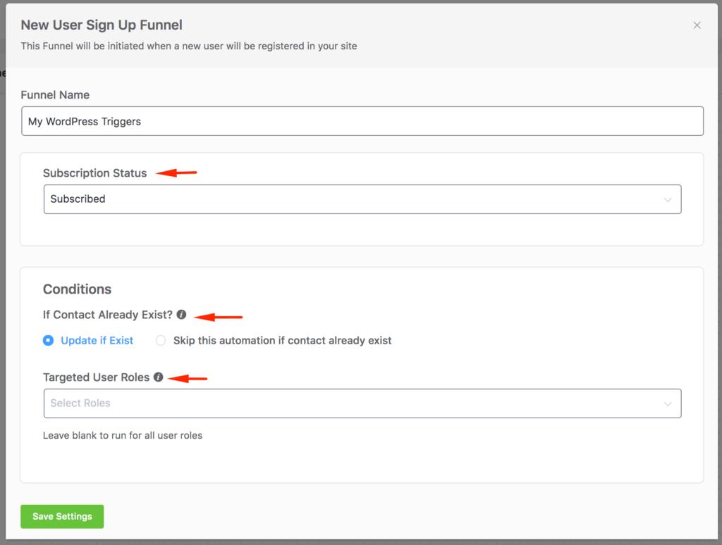 WordPress- New User Trigger