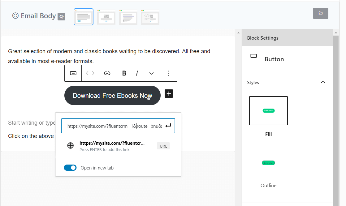 add tracking link into the funnel fluentcrm