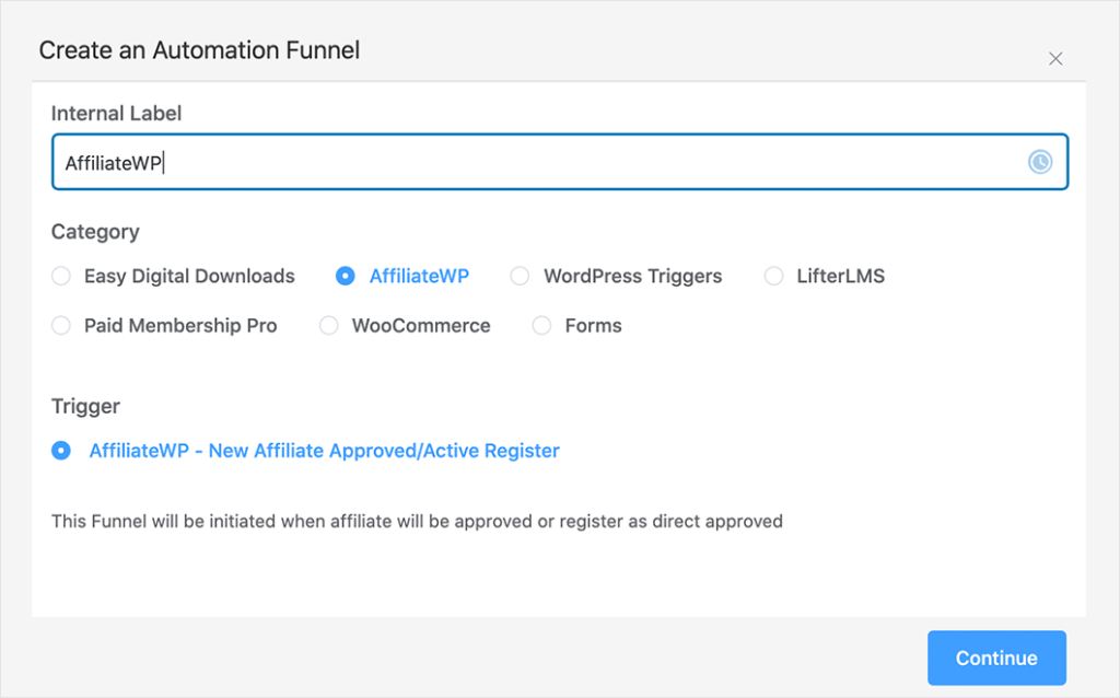 affiliateWP automatically import affiliates to fluentcrm