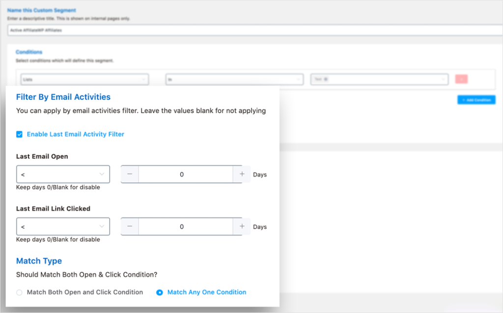 sort affiliates based on activities with fluentcrm