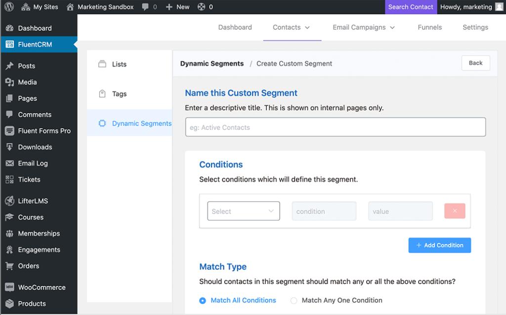 build dynamic email list, FluentCRM