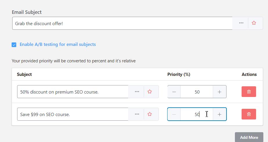 A/B test email campaign subject line, fluentcrm