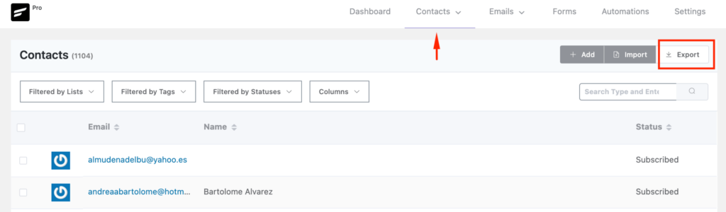 Export Contacts from FluentCRM