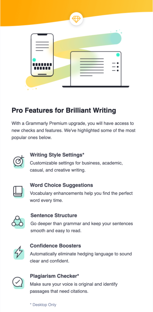 Grammarly email breakdown, welcome email sections, grammarly premium