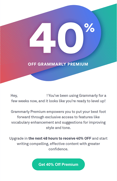 Grammarly email breakdown, welcome email sections, discount email