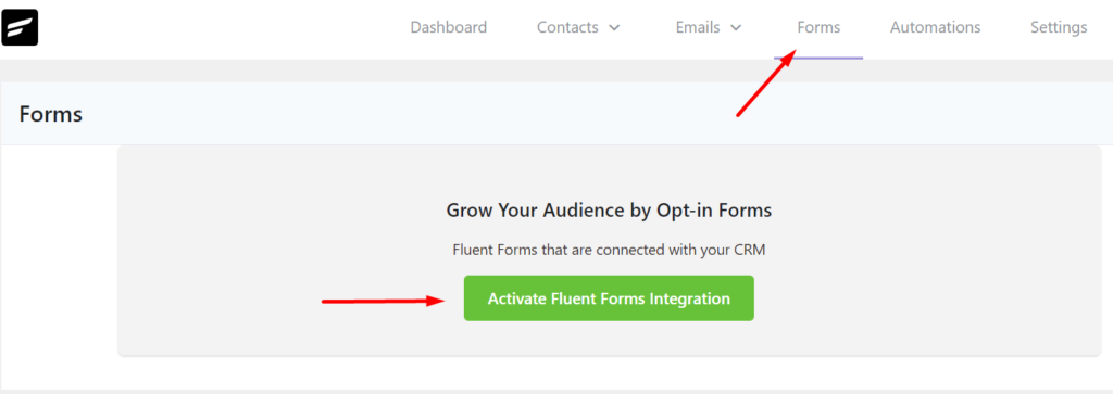 activating fluent form integration in fluentcrm