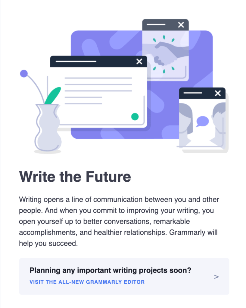 Grammarly email breakdown, welcome email sections, email introductions