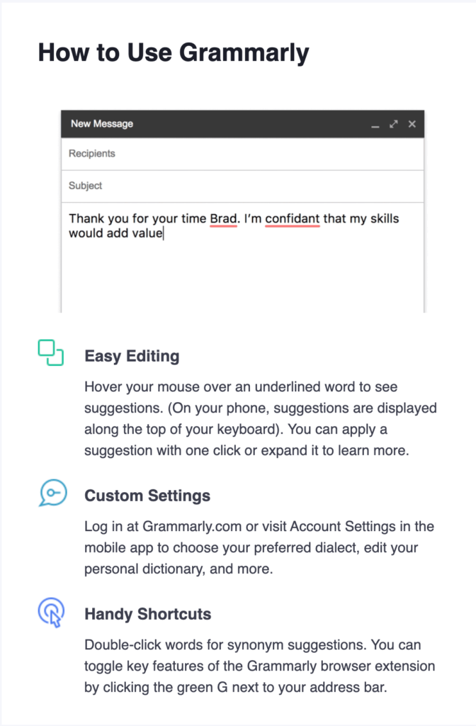 Grammarly email breakdown, welcome email sections, How to use grammarly