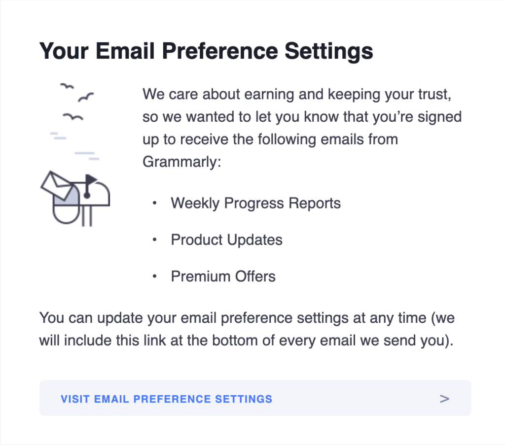 Grammarly email breakdown, welcome email sections, email preference