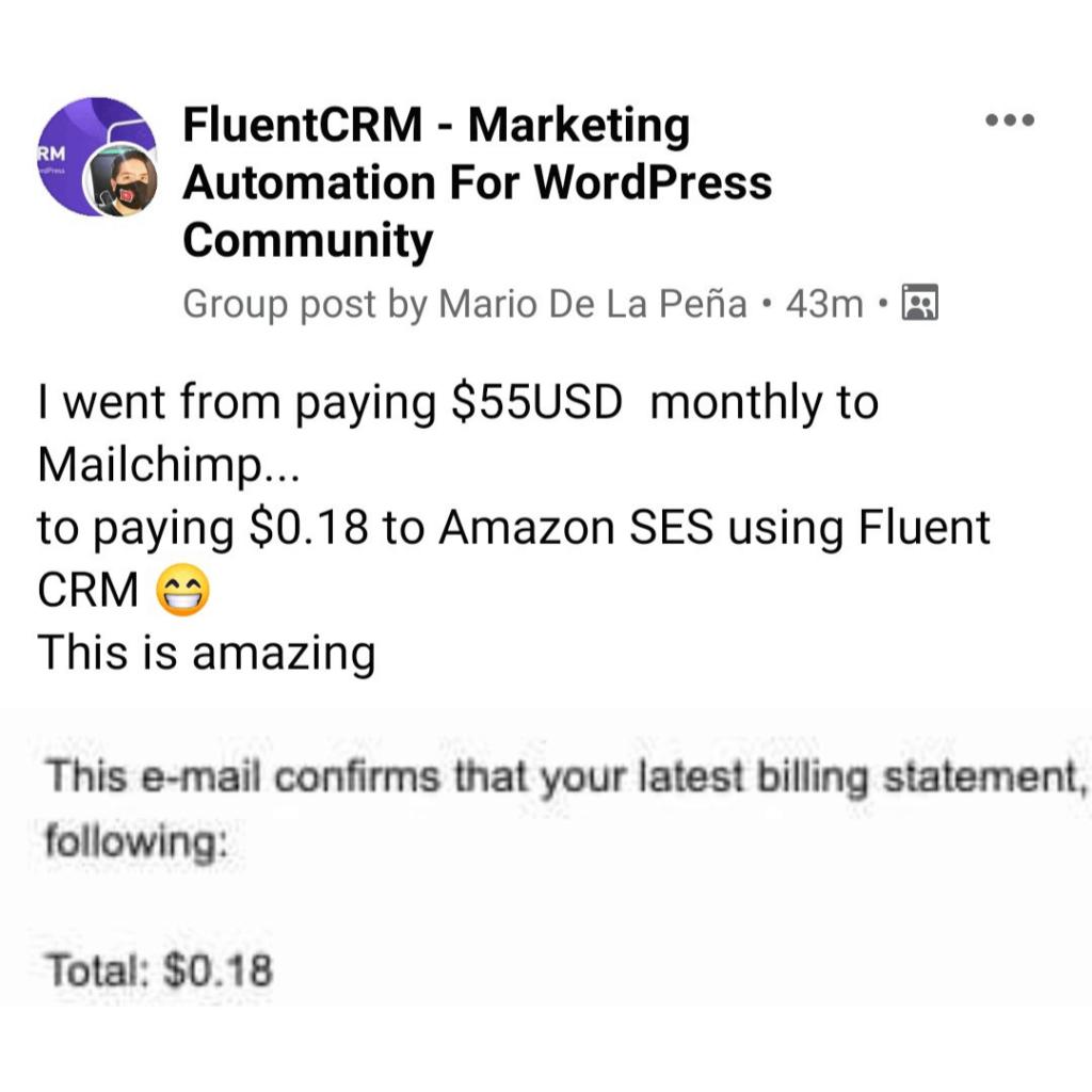 fluentcrm user review, fluentcrm testimonial, fluentcrm user opinion