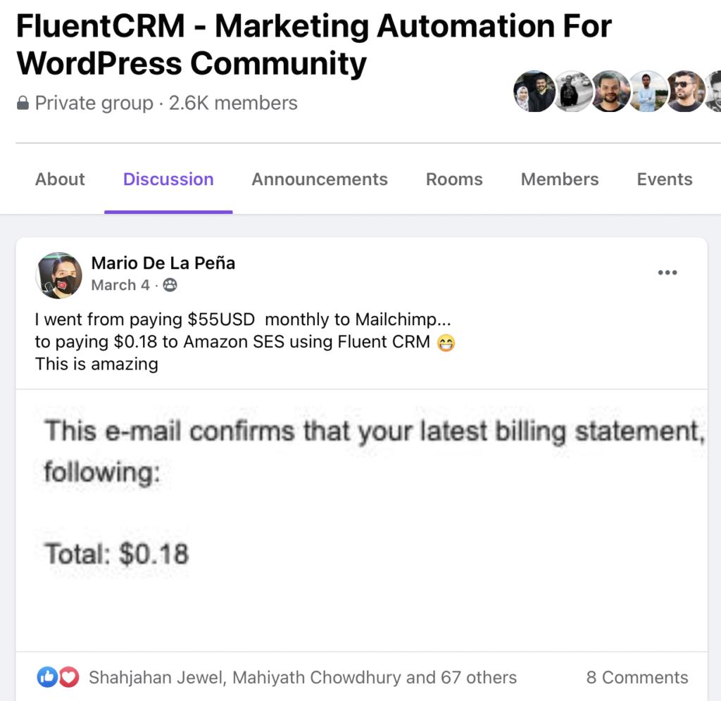 cost saving email marketing, fluentcrm testimonial, fluentcrm user review