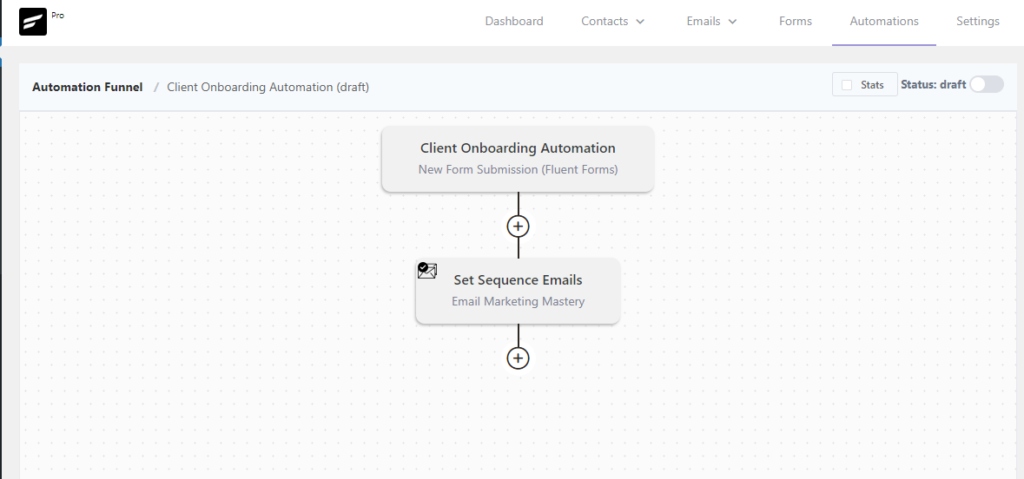 adding sequenced emails in fluentcrm automations, fluentcrm email sequence