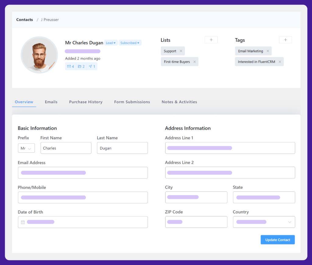 contact overview, fluentcrm contact overview, fluentcrm contact data platform