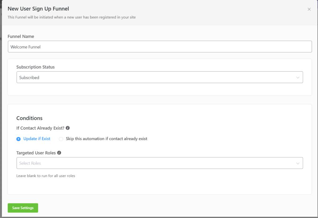 new user sign up trigger fluentcrm