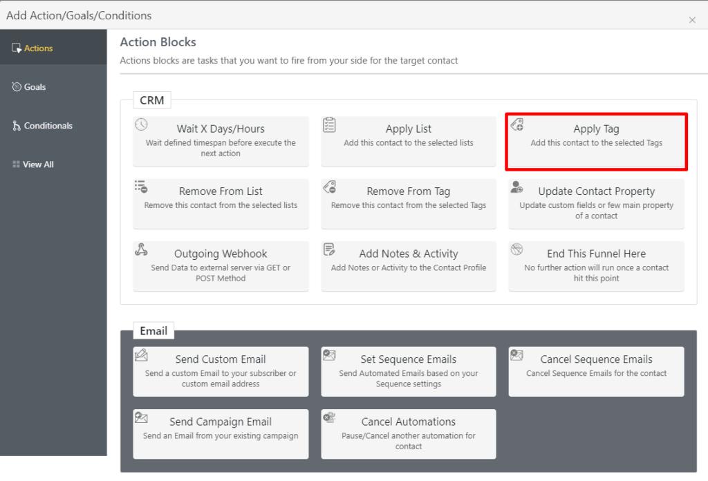 fluentcrm action blocks, apply tag action