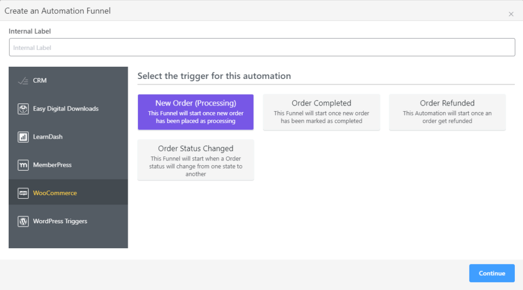 fluentcrm email marketing automation triggers for woocommerce