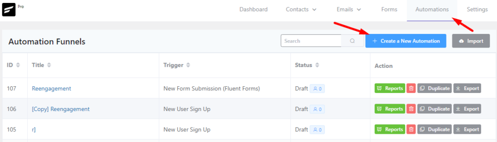 creating an automation in fluentcrm