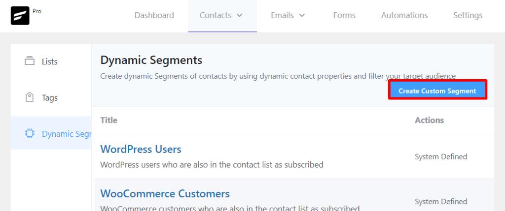 creating custom segment in fluentcrm