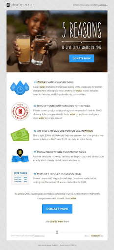 charity water nonprofit email newsletter 2