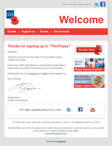british legion welcome email