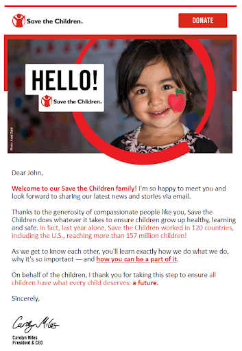 save the children welcome email